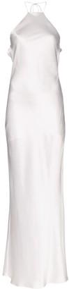 Michael Lo Sordo Halterneck Silk-Satin Maxi Dress