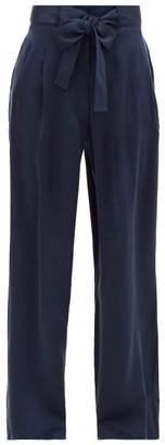 ASCENO The Rivello Wide-leg Silk-satin Trousers - Navy