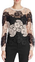 Alice + Olivia Jesse Lace-Panel Sweater