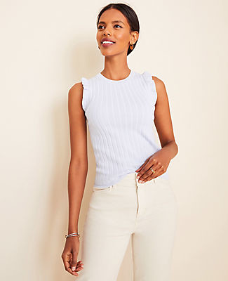 Ann Taylor Ribbed Ruffle Sleeve Sweater Shell Top