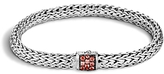 John Hardy Classic Chain Sterling Silver Lava Small Bracelet with Red Sapphire