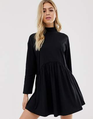 Asos Design DESIGN high neck curve seam smock dress-Black