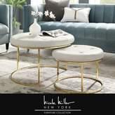 Nicole Miller Konan 2 Piece Nesting Tufted Cocktail Ottoman Upholstery Color: White, Leg Color: Gold