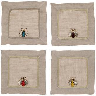 Joanna Buchanan Set of 4 Sparkle Bee Cocktail Napkins - Flax