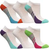Fruit of the Loom Girl's 6-Pack Of Colour-Blocked, Low-Cut Socks
