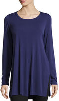 Eileen Fisher Silk Jersey Long-Sleeve Tunic, Plus Size