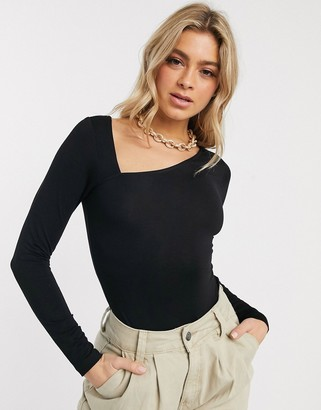 Asos DESIGN bodysuit with long sleeves and asymmetric neckline in black