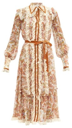 Zimmermann Lucky Lace-trimmed Floral-print Silk Shirt Dress - Cream Multi