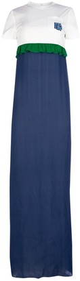 Prada Ruffle-Detail Contrast Dress