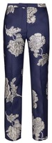 Alexander McQueen Floral-jacquard Straight-leg Trousers - Womens - Navy Multi