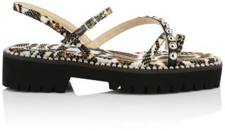 Jimmy Choo Desi Embellished Snake-Print Platform Sandals