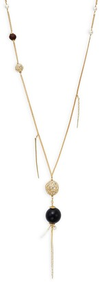 Alexis Bittar Goldplated Freshwater Pearl, Pave Crystal Wood Bead Necklace