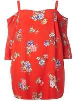 Dorothy Perkins Womens DP Curve Plus Size Red Floral Bardot Top- Red
