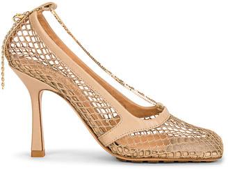 Bottega Veneta Mesh Ankle Strap Sandals in Beige & Beige | FWRD