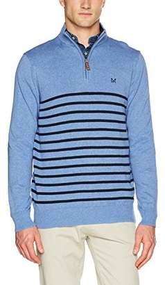 Crew Clothing Men's Classic 1/2 Zip Regular Fit Striped Half-Zip Long Sleeve Jumper,XX