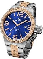 TW Steel Canteen Unisex Automatic Watch with Blue Dial Analogue Display and Silver Stainless Steel Bracelet CB145