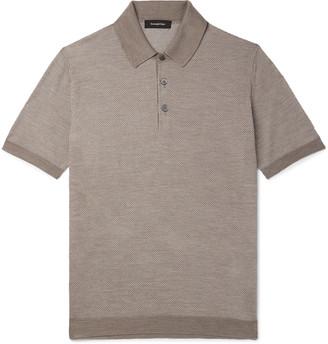 Ermenegildo Zegna Slim-Fit Textured-Knit Silk And Cotton-Blend Polo Shirt