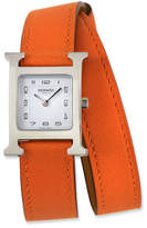 Hermes Heure H PM Watch with Orange Leather Wrap Strap