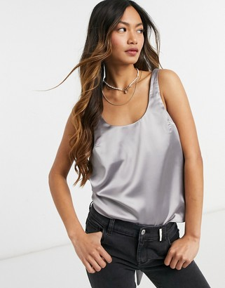 ASOS DESIGN scoop neck satin cami with tie back detail in silver