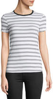 Three Dots Kennedy Double-Striped Crewneck Tee