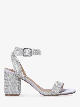 Steve Madden Malia Rhinestone Block Heel Sandals, Silver