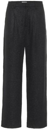 Deveaux Nicola high-rise straight tweed pants