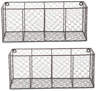 Design Imports Medium Rustic Bronze Wall Mount Chicken Wire Basket, Set Of 2