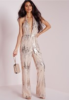 Missguided Sequin Halterneck Jumpsuit Silver