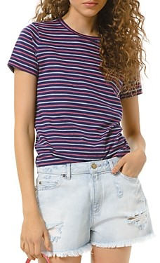 MICHAEL Michael Kors Cotton Railroad Striped Tee