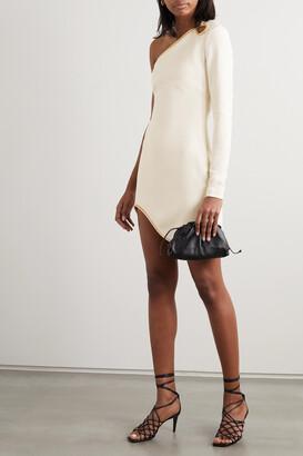 Stella McCartney - + Net Sustain One-sleeve Asymmetric Embellished Cady Mini Dress - White