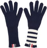 Thom Browne Navy Rib Cashmere Four Bar Gloves