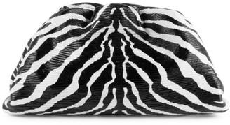 Bottega Veneta Large The Pouch Zebra-Stripe Leather Clutch