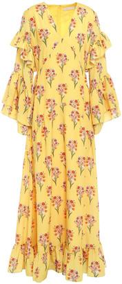 Borgo de Nor Luna Ruffled Floral-print Cotton Maxi Dress