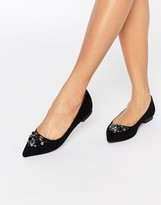 Carvela Manic Embellished Point Flat Shoes