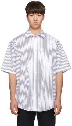 Balenciaga White and Navy Logo Tab Short Sleeve Shirt