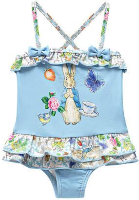 Beatrix Potter Baby Girls Scrapbook Print X-Back Skirted One Piece Swimsuit