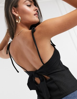 ASOS DESIGN linen square neck cami with tie back detail in black