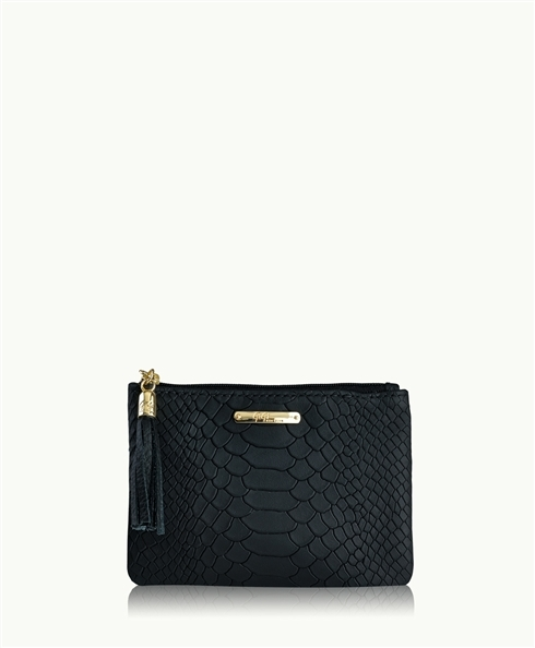 GiGi New York Zip Pouch Embossed Python