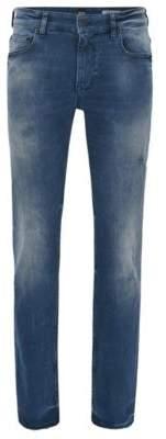 BOSS Hugo Distressed Cotton Jean, Slim Fit Orange Helsinki- C 36/34 Dark Blue