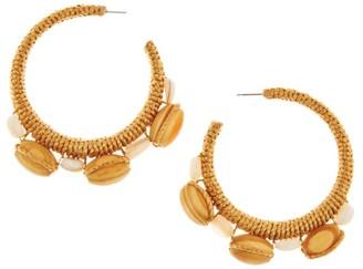 Oscar de la Renta Wood Bead Wrapped Half Loop Post Earrings