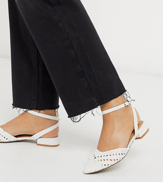 Asos DESIGN Wide Fit Location woven slingback ballet flats in white