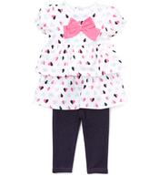 Bon Bebe White & Pink Heart Dress & Jeggings