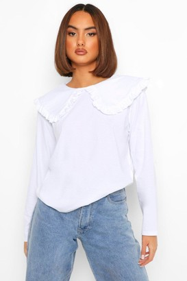 boohoo Oversized Ruffle Collar Long Sleeve T-Shirt