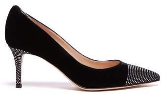 Gianvito Rossi Crystal-embellished 70 Velvet Pumps - Womens - Black