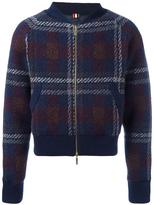 Thom Browne checked knit bomber jacket - men - Polyester/Wool/Cashmere - 3