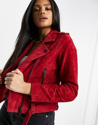 Blank NYC cardinal biker jacket in red velvet