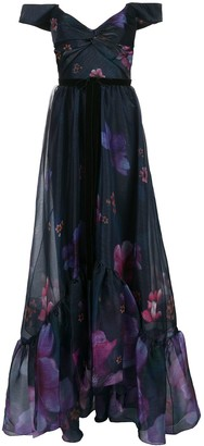 Marchesa Notte Off-Shoulder Floral Print Organza Gown