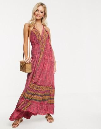 Raga Passion Struck paisley print halterneck maxi dress-Pink