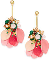 Kate Spade Gold-Tone Bead, Stone, Sequin & Leather Flower Drop Earrings