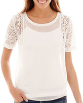 JCPenney A.N.A a.n.a Short-Sleeve Lace-Shoulder Blouse
